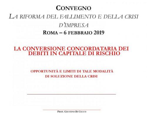Conversione Concordataria dei debiti in capitale di rischio